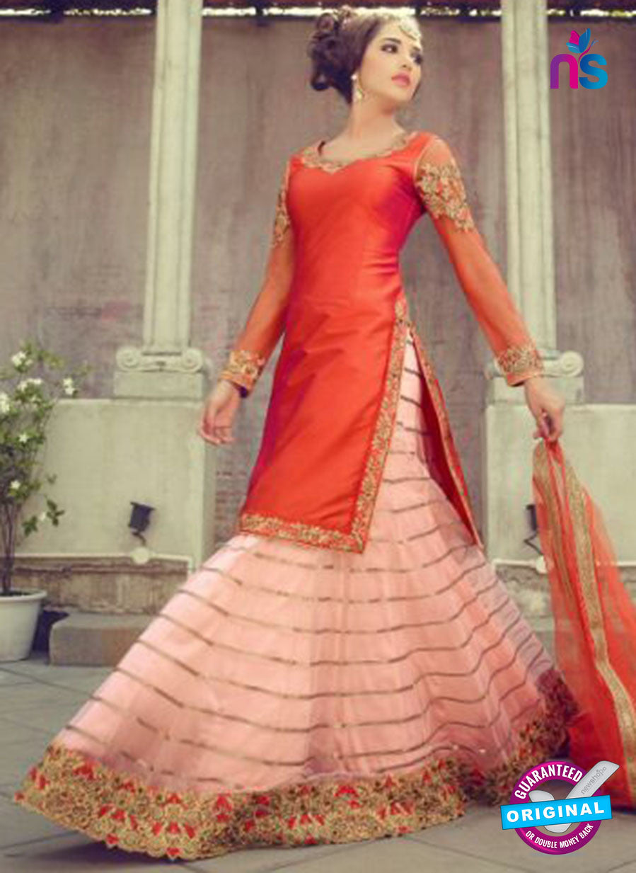 Mohini 29004 Orange and Peach Silk Indo Western Suit