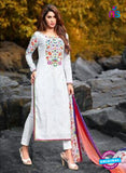 Maskeen 2906 White Cotton Fancy Pakistani Suit