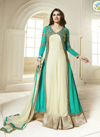 Vinay Fashion 2942A Sea Green & Beige Color Georgette Designer Suit