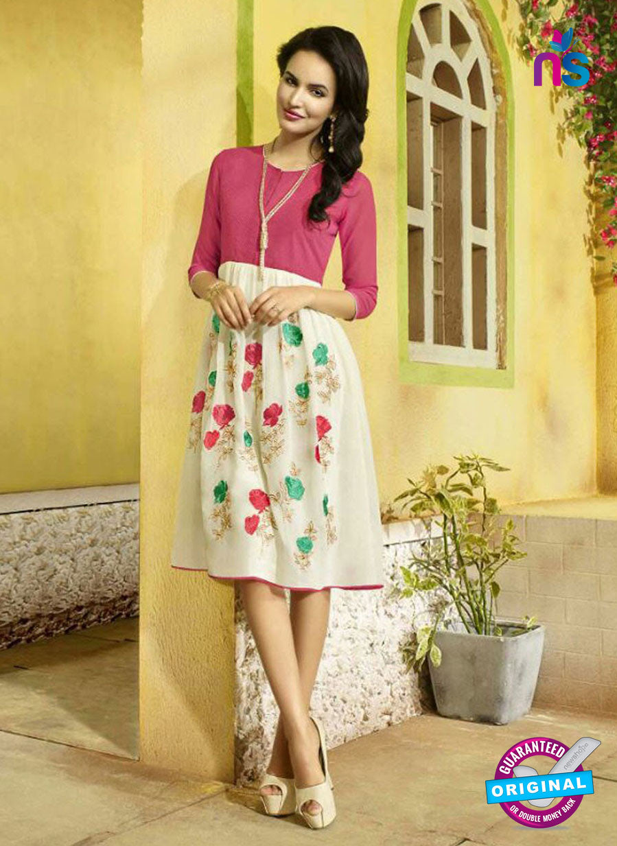 SC 13405 Pink and Beige Designer Traditional Party Wear Fancy Kurti