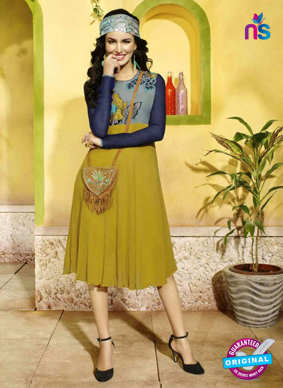 SC 13400 Grey, Blue and Yellow Designer Traditional Party Wear Fancy Kurti