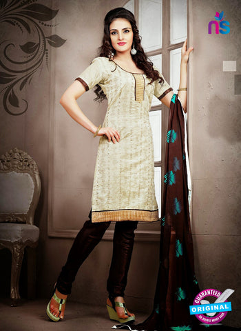 NS12220 Ivory and Dark Brown Chudidar Suit