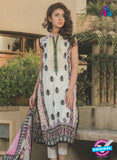 NS 12371 White and Black Embroidered Printed Lawn Party Wear Suit