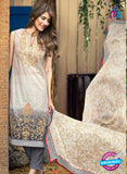 SC 13273 Beige and Grey Printed Cambric Lawn Cotton Pakistani Suit