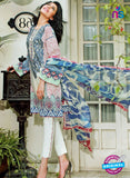 NS10968 RoyalBlue and White Embroidered Lawn Salwar Suit