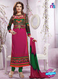 NS12241 Magenta and Green Straight Suit