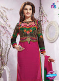 NS12241 Magenta and Green Straight Suit Online