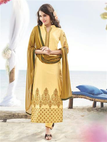 NS11895  Corn Yellow and Copper Brown Satin Cotton Straight Suit