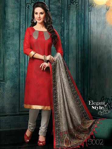 NS11453 Red and Gray Banarasi Jacquard Daily Wear Straight Suit