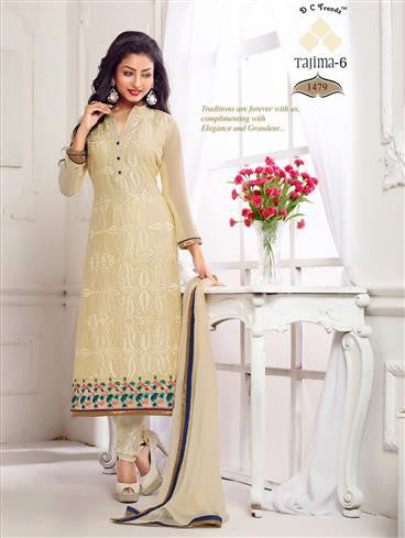 NS11786  Beige Georgette Straight Suit