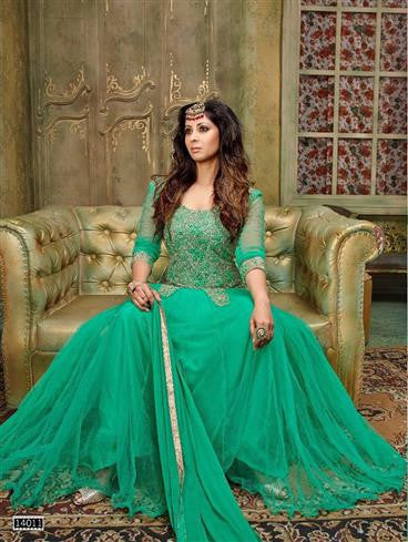 NS11897  Sea Green Silky Net and Georgette Designer Gawn