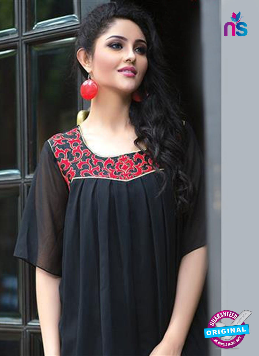 NS11761 Black and Red Georgette Tunic