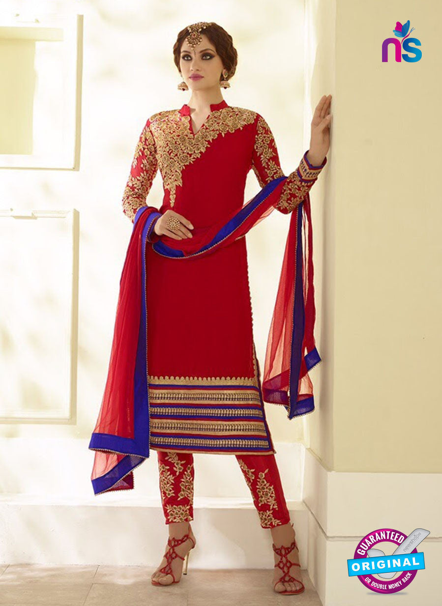 NS10109 Red and Blue Party Wear Georgette/Mono Net Designer Suit