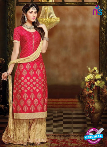 SC 13711 Red and Beige Designer Fancy Exclusive Function Wear Straight Plazo Suit