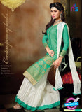 SC 13706 Sea Green and White Designer Fancy Exclusive Function Wear Straight Plazo Suit Online