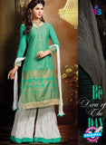 SC 13706 Sea Green and White Designer Fancy Exclusive Function Wear Straight Plazo Suit