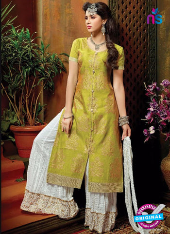 SC 13704 Green and White Designer Fancy Exclusive Function Wear Straight Plazo Suit