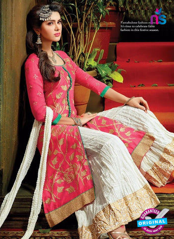 SC 13707 Pink and White Designer Fancy Exclusive Function Wear Straight Plazo Suit