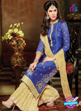 SC 13708 Blue and Beige Designer Fancy Exclusive Function Wear Straight Plazo Suit