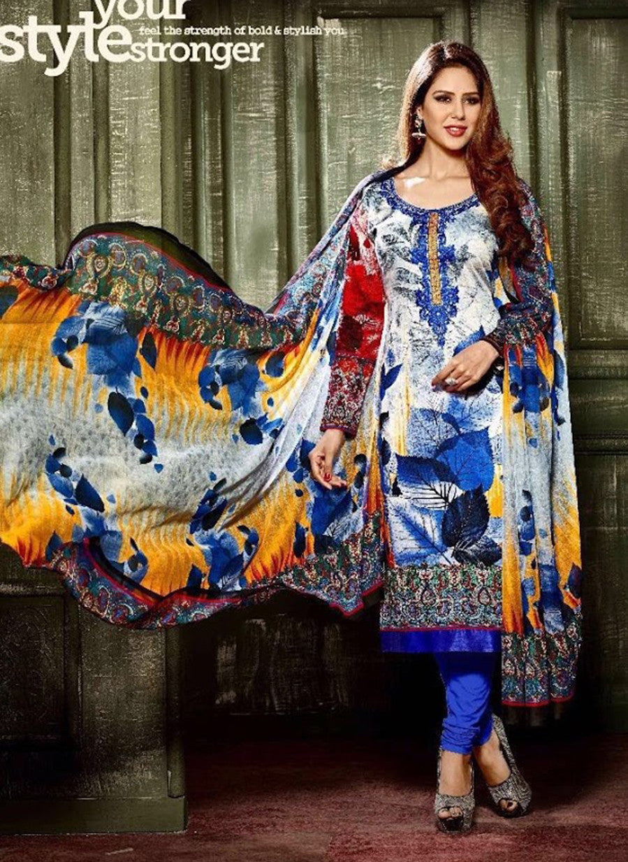 Hemani 3001B  Blue Color Glace Cotton Designer Suit