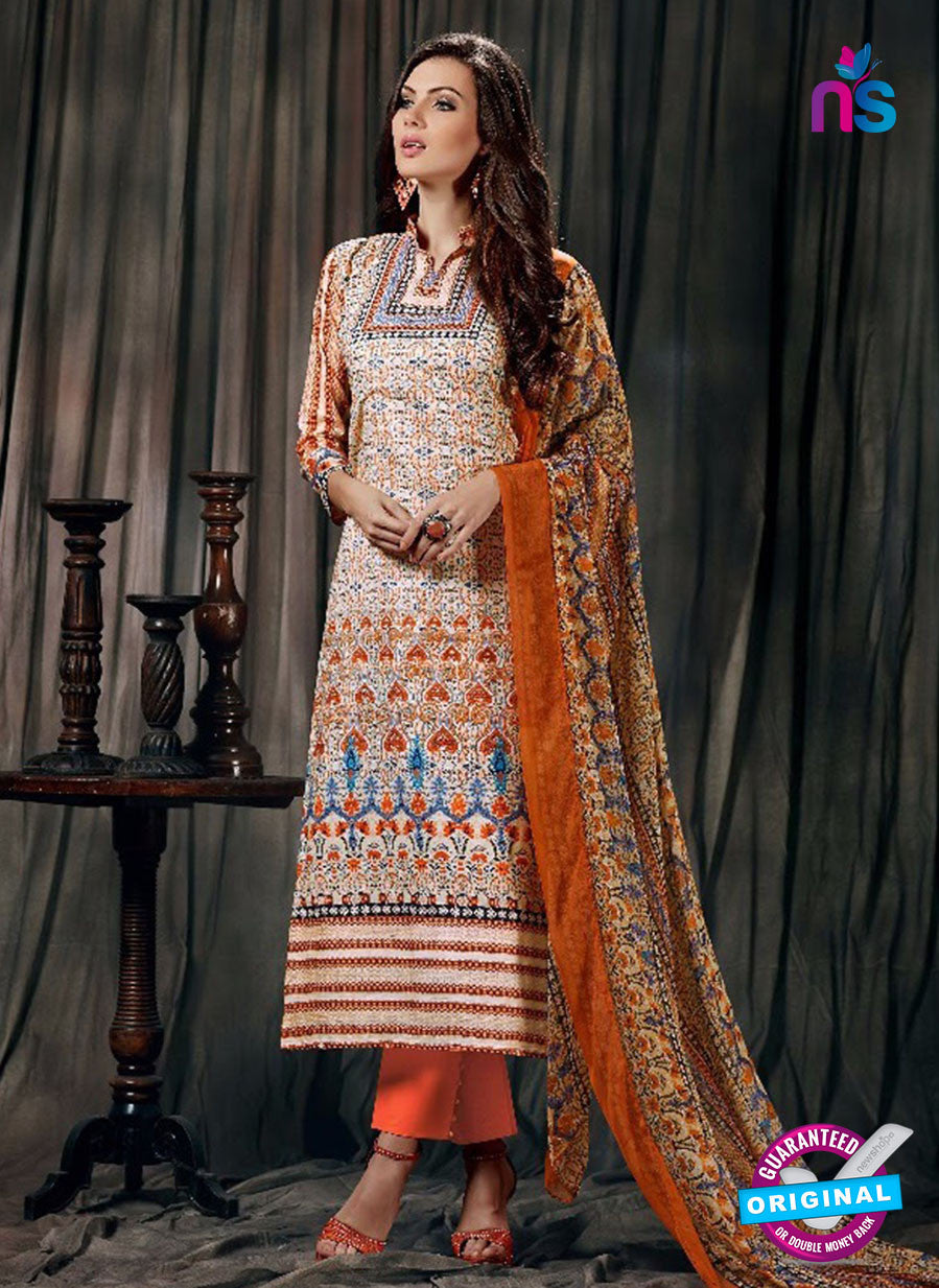 SC 12623 Multicolor and Orange Printed Cambric Pakistani Suit