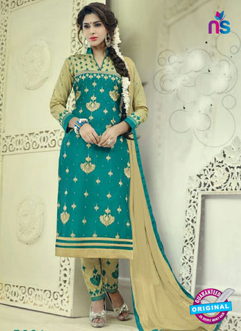 SC 12512 Sea Green and Brown Embroidered Glace Cotton Straight Suit
