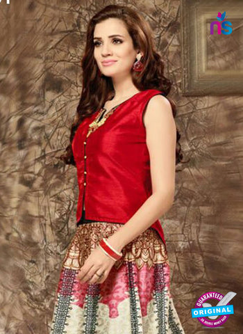 SC 14281 Red and Beige Designer Kurti With Lehenga