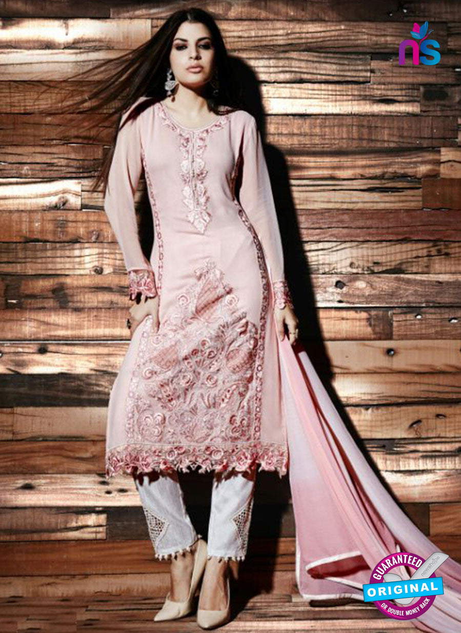 NS Rabia 12444 Peach Georgette Party Wear Suit