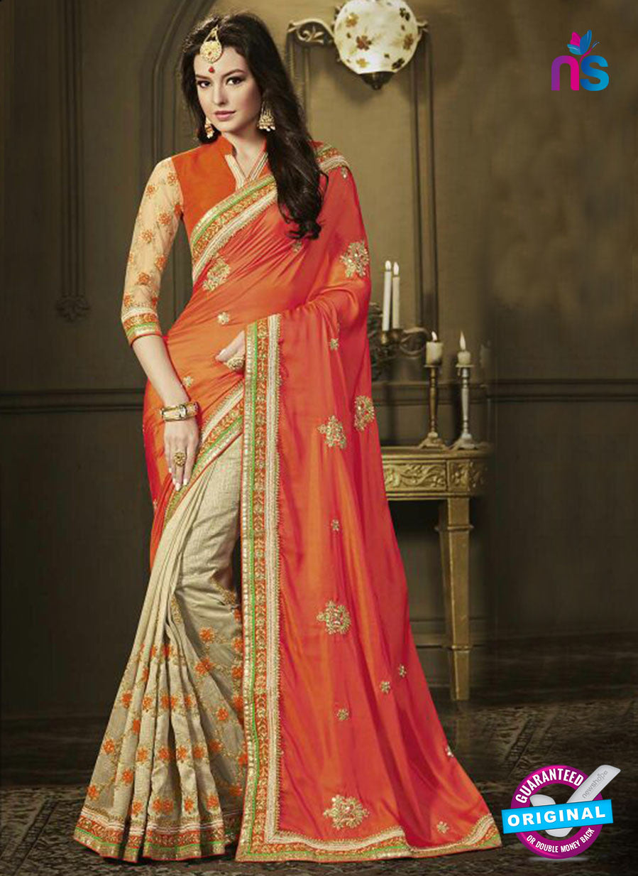 AZ 3578 Beige and Orange Net Party Wear Saree