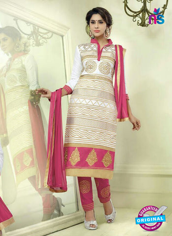SC 12513 White and Pink Embroidered Glace Straight Suit
