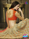 AZ 3578 Beige and Orange Net Party Wear Saree - Sarees - NEW SHOP