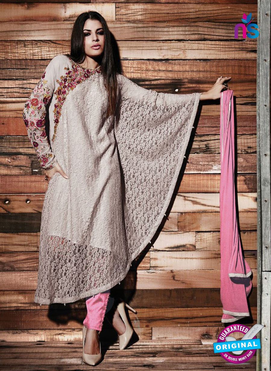 SC 13331 Grey and Pink Fancy Lace Nette Designer Suit