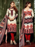 Hemani 3003B  Red & Grey Color Glace Cotton Designer Suit