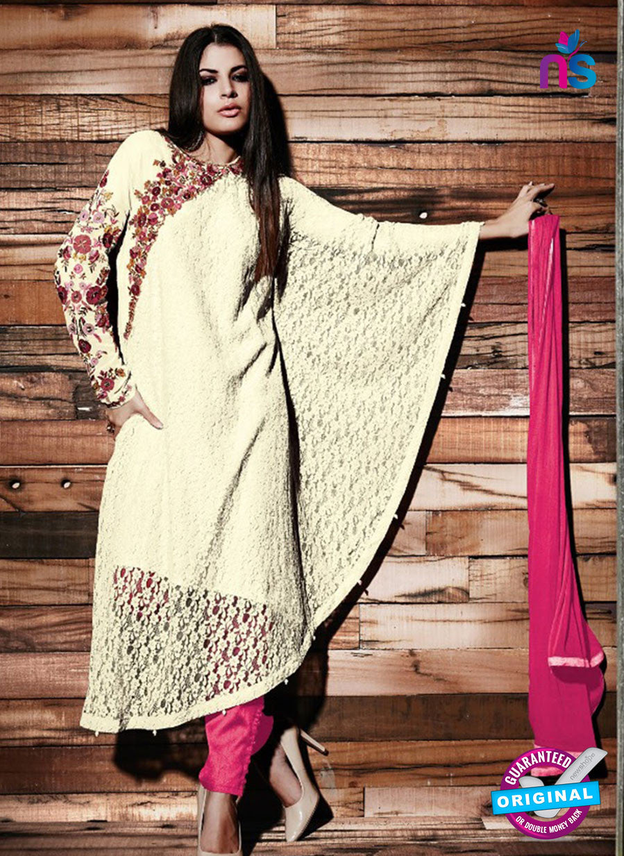 SC 13330 Beige and Pink Fancy Lace Nette Designer Suit
