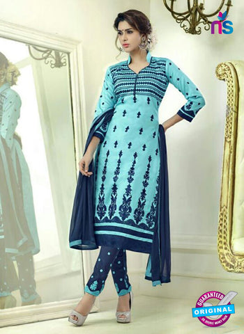 SC 12508 Blue and Dark Blue Embroidered Glace Cotton Straight Suit