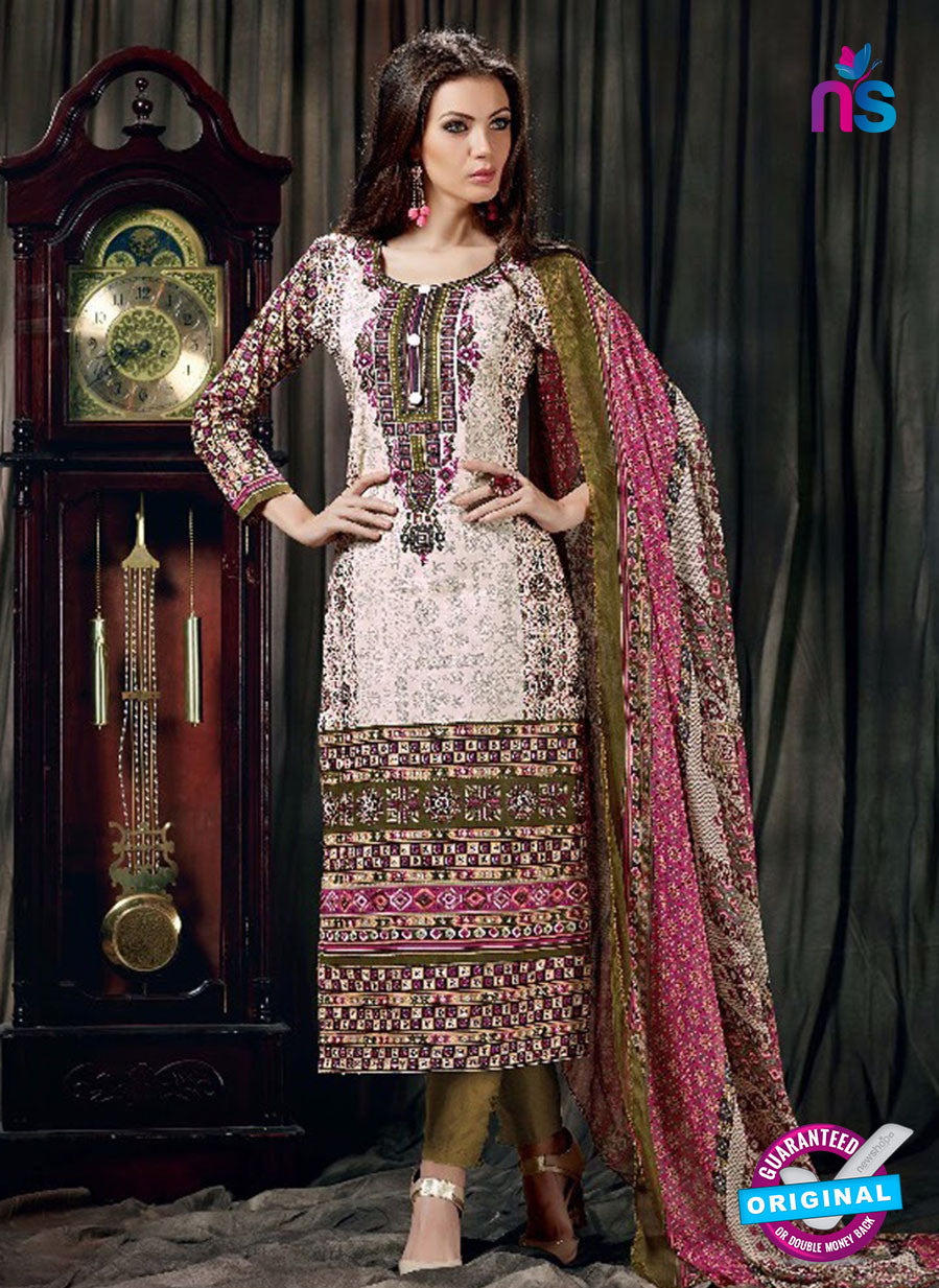 SC 12622 Pink and Multicolor Printed Cambric Pakistani Suit