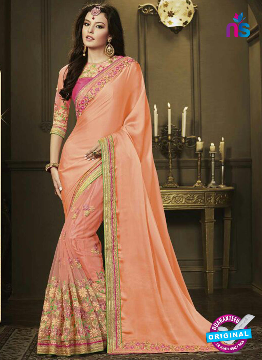 AZ 3579 Peach Net Party Wear Saree