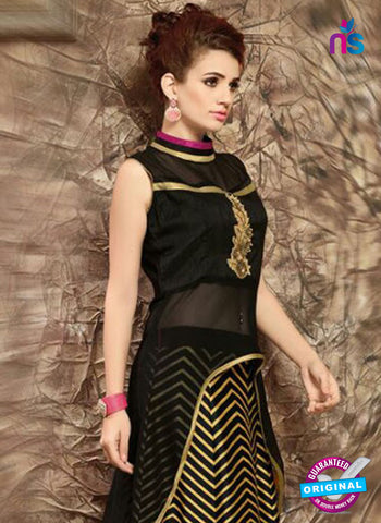 SC 14283 Black and Multicolor Designer Kurti With Lehenga