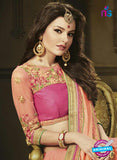 AZ 3579 Peach Net Party Wear Saree - Sarees - NEW SHOP