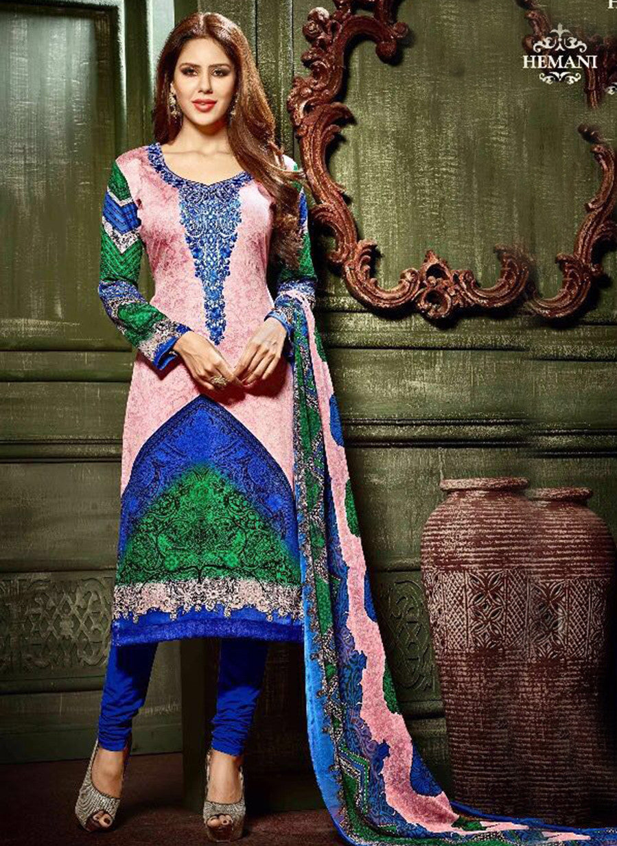 Hemani 3004A  Pink & Blue Color Glace Cotton Designer Suit