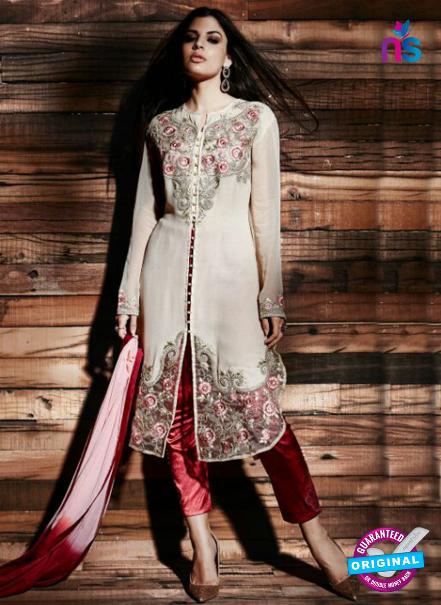 NS Rabia 12446 Red and Beige Georgette Party Wear Suit
