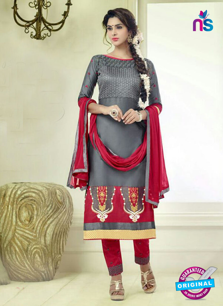 SC 12509 Grey and Maroon Embroidered Glace Cotton Straight Suit