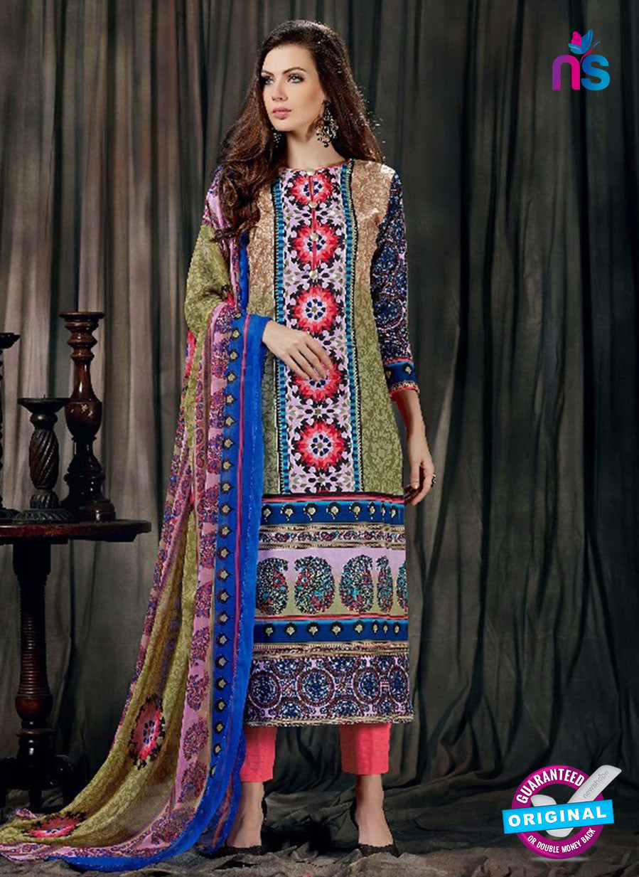 SC 12624 Multicolor and Blue Printed Cambric Pakistani Suit