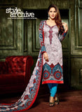 Hemani 3005B  Blue & Grey Color Glace Cotton Designer Suit