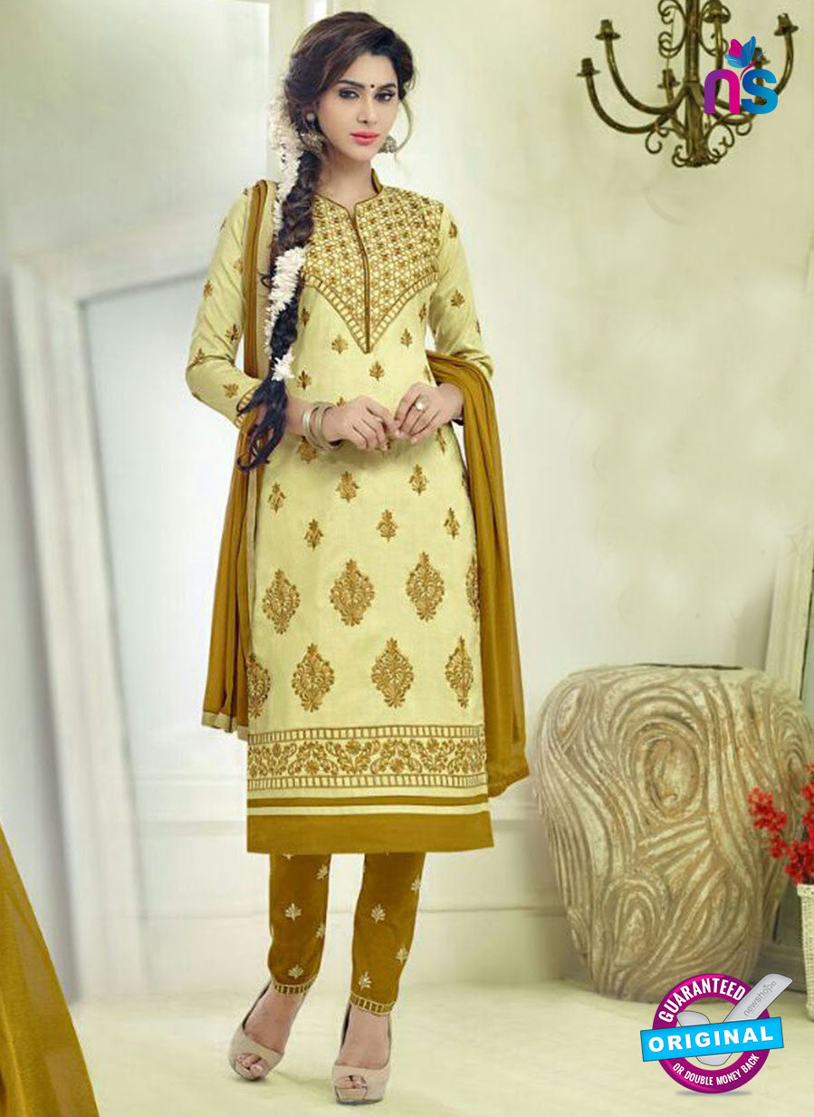 SC 12505 Yellow and Beige Embroidered Glace Cotton Straight Suit
