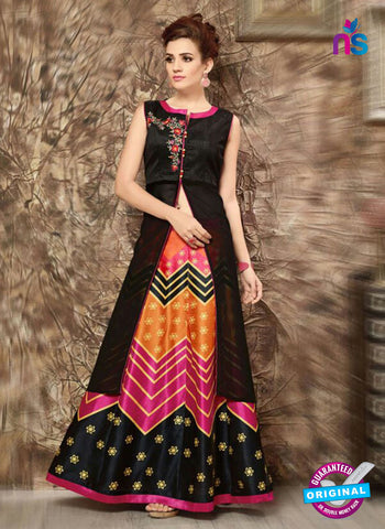 SC 14285 Black and Multicolor Designer Kurti With Lehenga