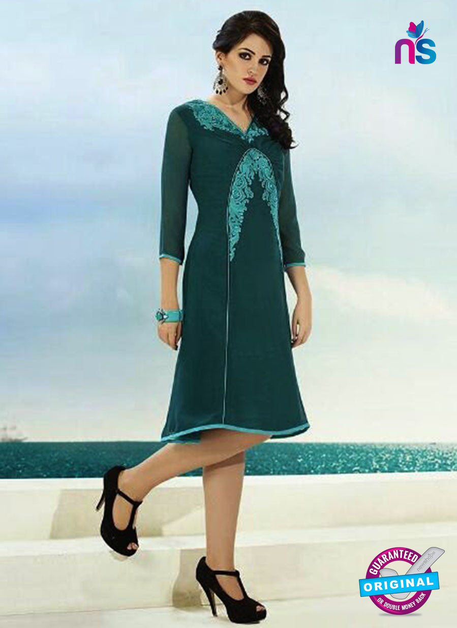 NS10501  Blue Georgette Embroidery Kurti