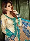 Hemani 3006A  Blue & Beige Color Glace Cotton Designer Suit