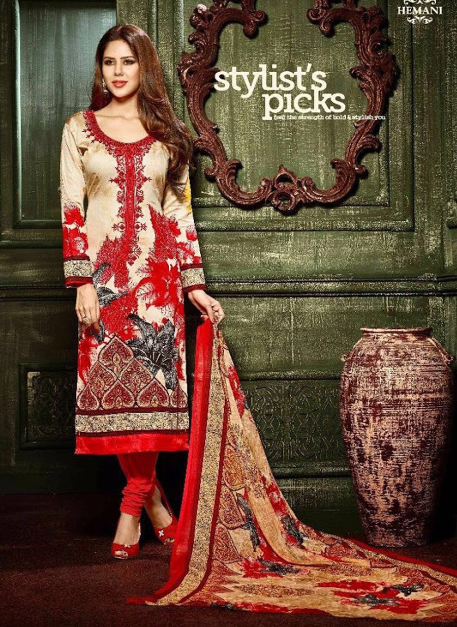 Hemani 3006B  Red & Beige Color Glace Cotton Designer Suit