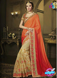 AZ 3582 Beige and Orange Net Party Wear Saree